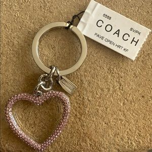 Coach Swarovski Crystal Heart Key Chain